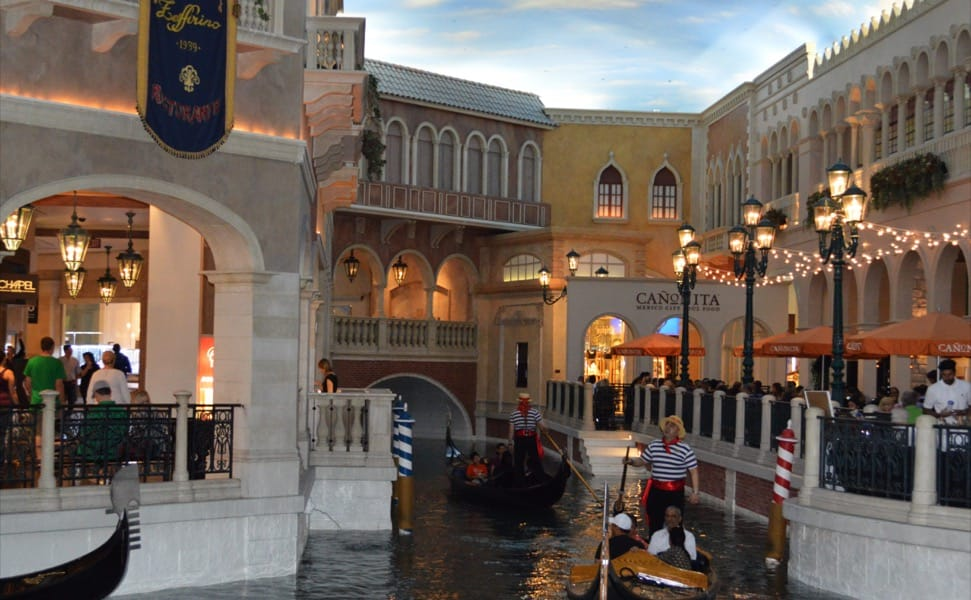 Canals and gondolas in the canals of the Venetian