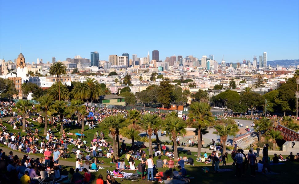 San Francisco skyline, as seen from Dolores Park