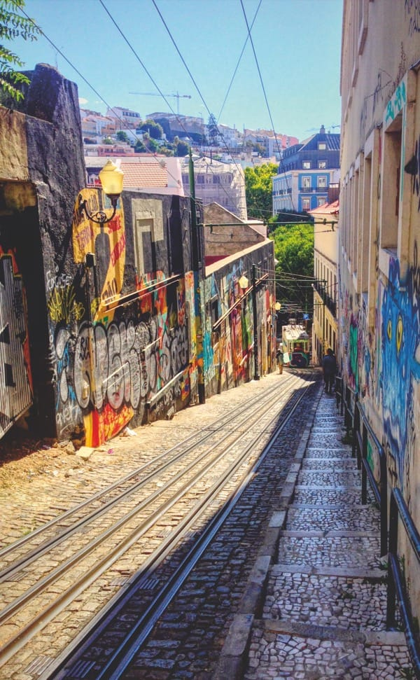Lisbon's hallmark trams and colorful walls