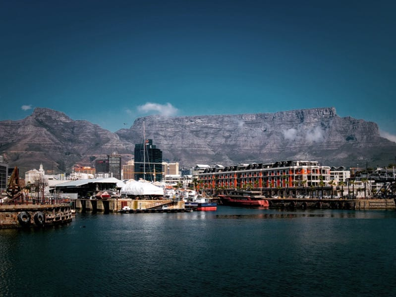 Cape Town's Table Mountain, as seen from the V & A Waterfront